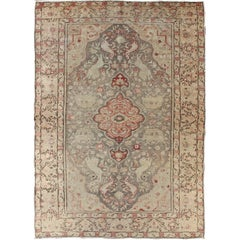Fine Turkish Oushak Carpet with Floral Motifs in Cream, Pink & Red on Gray Field