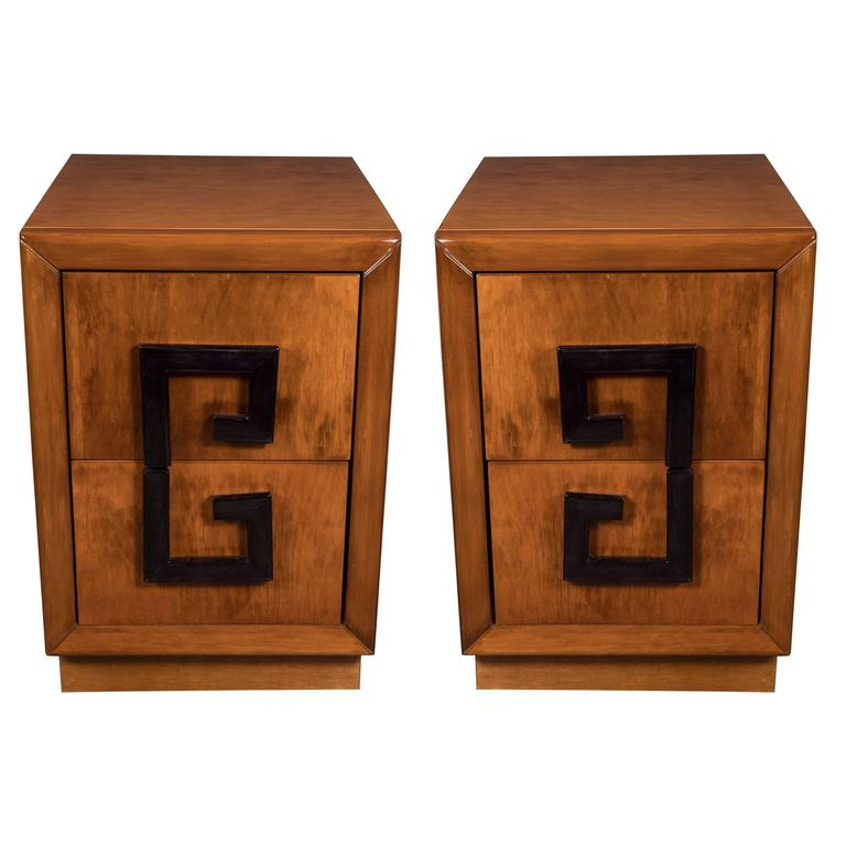 Pair of Elegant Mid-Century Modernist Greek Key Nightstands by Kittenger