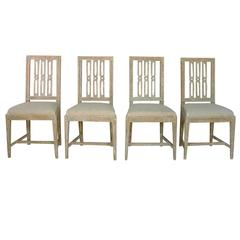 Set of Four 18th Century Swedish Gustavian Period Original Paint Dining Chairs