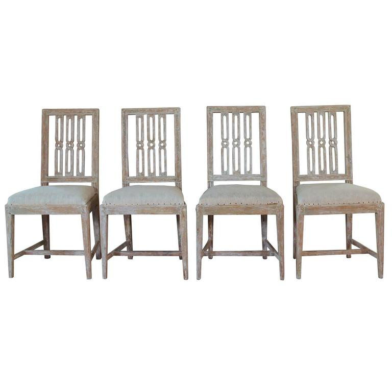 Set of Four 18th Century Swedish Gustavian Square Back Chairs in Original Paint  For Sale
