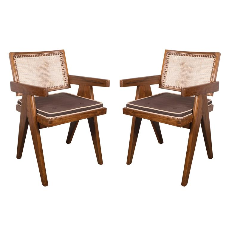 Pair of Armchairs in Teak, Caning and Upholstery by Pierre Jeanneret 1
