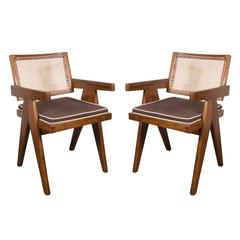 Pair of Armchairs in Teak, Caning and Upholstery by Pierre Jeanneret
