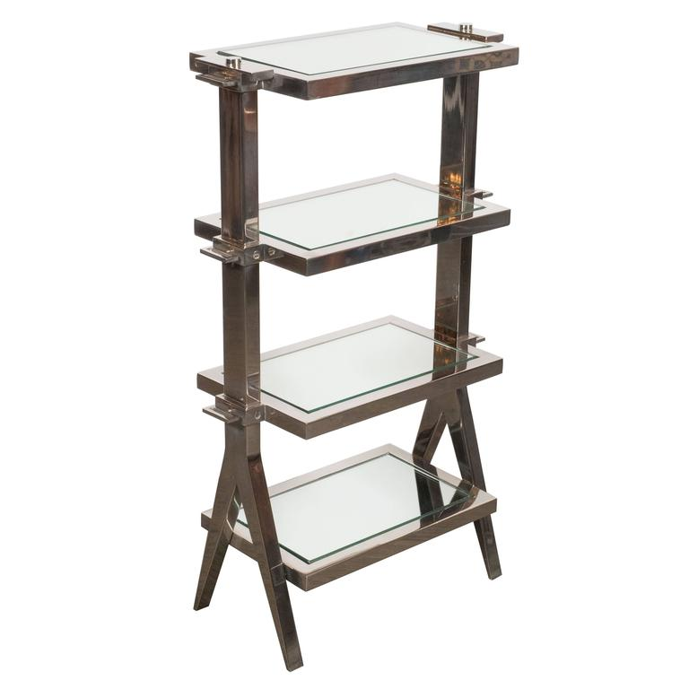 Gorgeous Art Deco Nickel and Mirror Four Tier Side / Drinks Table 1