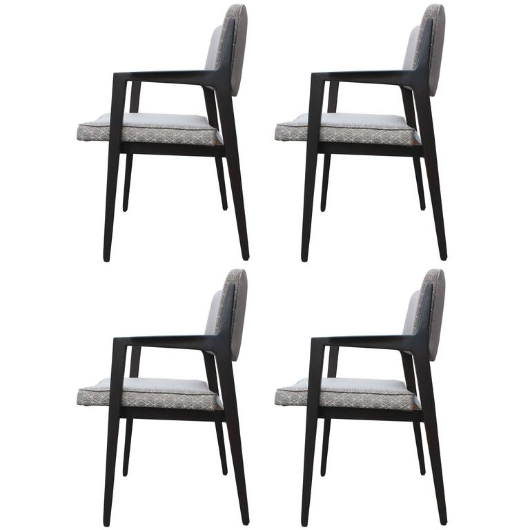 Set of Four Italian Modern Charcoal Dining Armchairs in Grey Patterned Fabric
