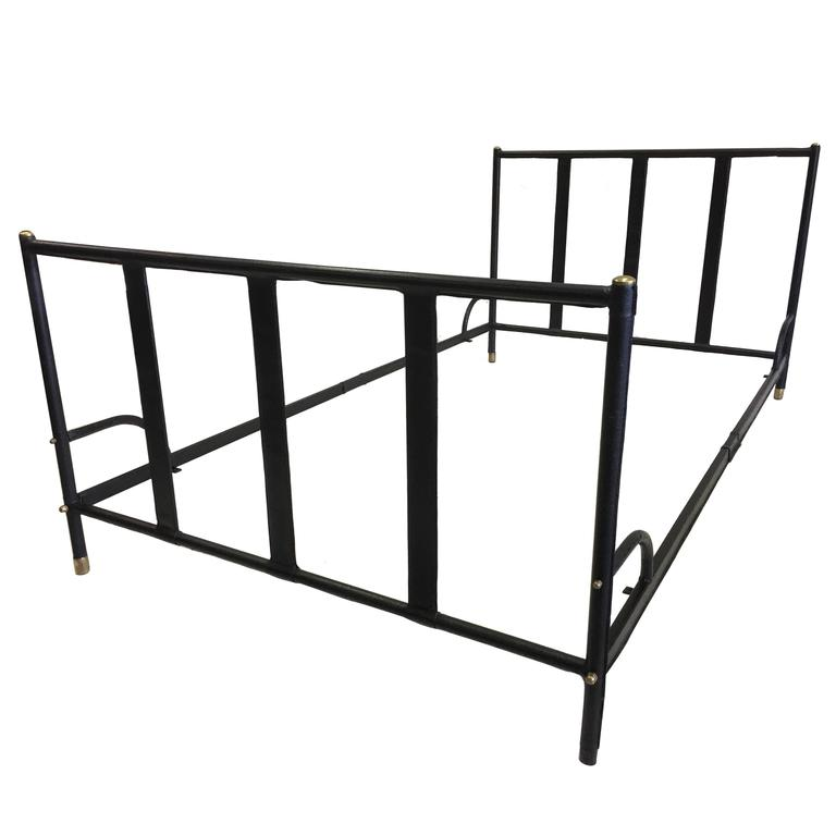French Mid-Century Modern Hand Stitched Black Leather Bed by Jacques Adnet, 1955 For Sale