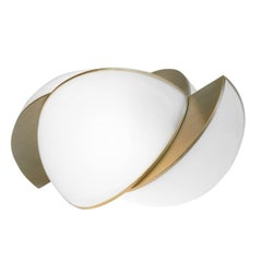 Collision Large Table Light, Gold Galvanic with White Acrylic by Lara Bohinc
