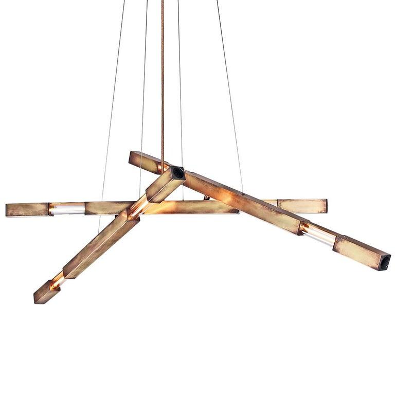 Large Three-Branch Dynamic Stilk Chandelier in Brass
