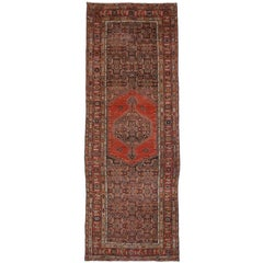 Antique Persian Malayer Gallery Rug, Extra-Long Rug with MidCentury Modern Style