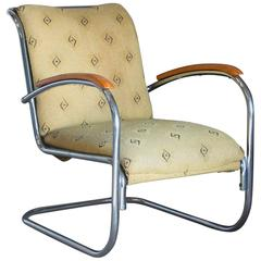 Original, Early Vintage Tubular Easy Chair with Original Fabric, circa 1930