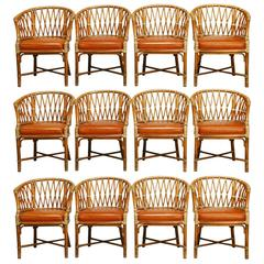 Set of 50 McGuire Bamboo Fretwork Barrel Chairs