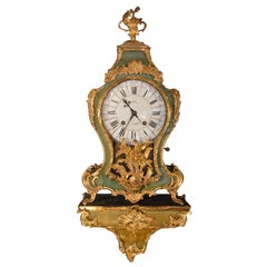 19th Century Green Tortoise Shell Gilt Clock with Paired Base