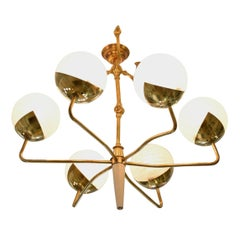 Italian Mid-Century Articulating Brass Spider Chandelier, 1950's