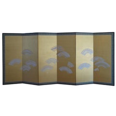 Impressive Japanese Six-Panel Fan Screen, Meiji/Showa Period, Early 20th Century