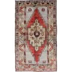 Vintage Turkish Oushak Carpet with Geometric Medallion in Red and Light Gray
