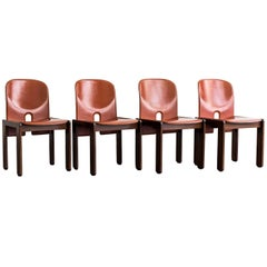 "Set of 4 Walnut & Leather ""121"" Chairs by Afra & Tobia Scarpa for Cassina, 1965"