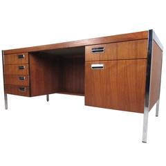 Mid-Century Modern Chrome and Walnut Executive Desk