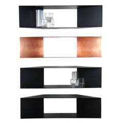 Contemporary Minimal Sculptural Metal Black and Copper Corner Shelves In Stock