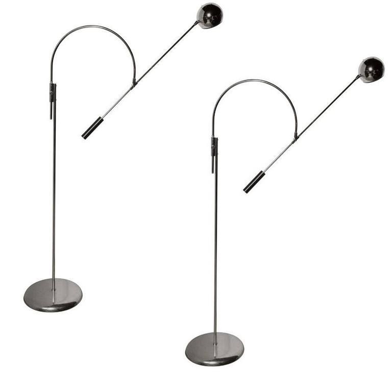 """Pair of Robert Sonneman Chrome Large """"Orbiter"""" Floor Lamps, Late 1960s"""