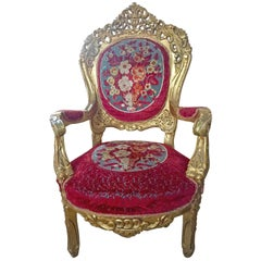 Original French 18th Century Hand Carved Giltwood Rococo Armchair