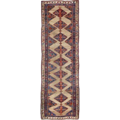 Colorful Long Antique Persian Serab Runner with Camel, Blue, Red and Brown