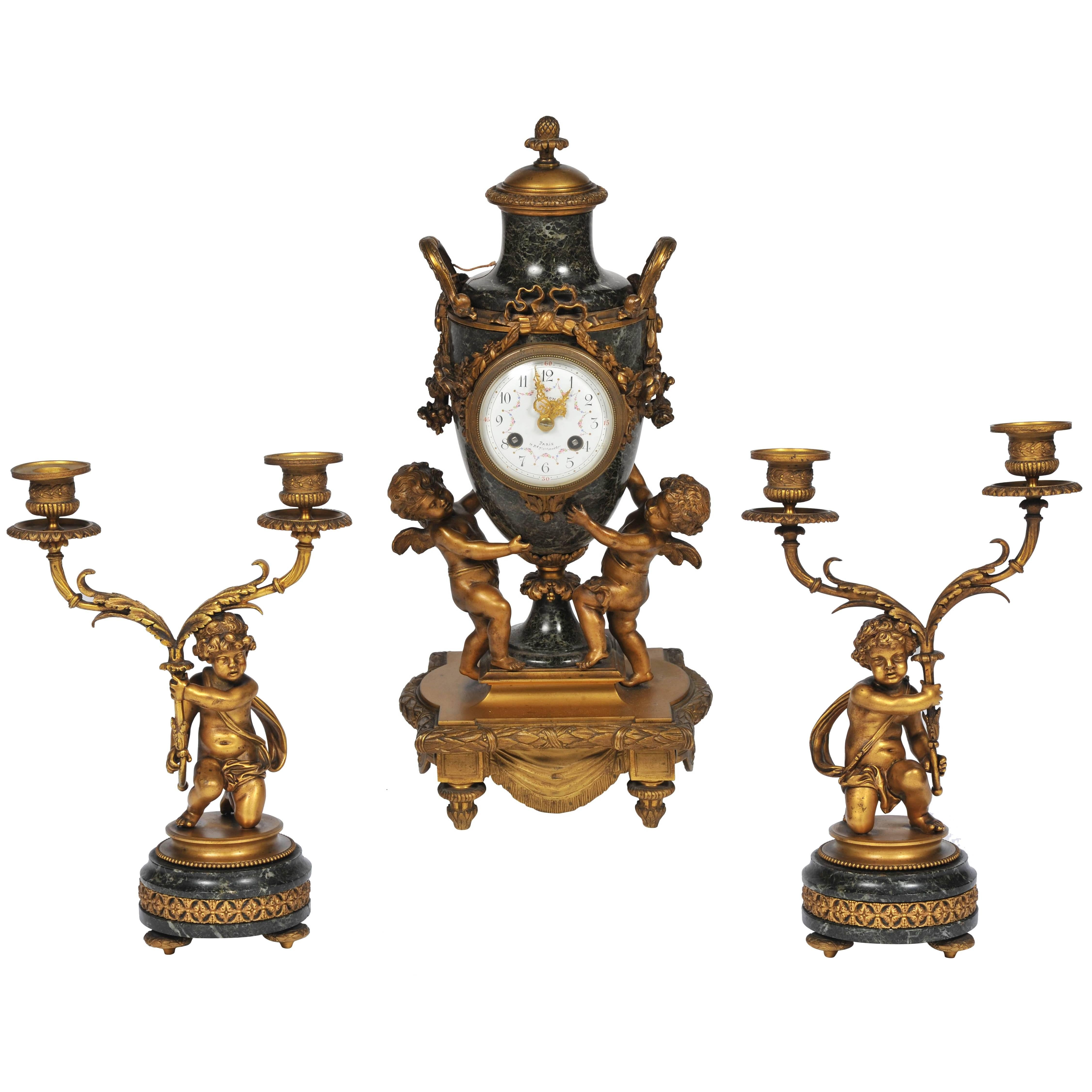 19th Century French Louis XVI Style Clock Set