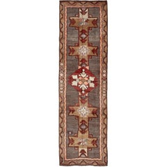 Vintage Turkish Carpet with Vertical Cross Shapes and Geometric Elements