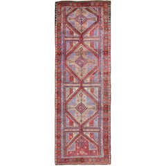 Vivid and Colorful Oushak Runner with Repeating Diamond Medallions