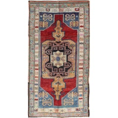 Beautiful Turkish Oushak Rug with Unique Colors and Geometric Design