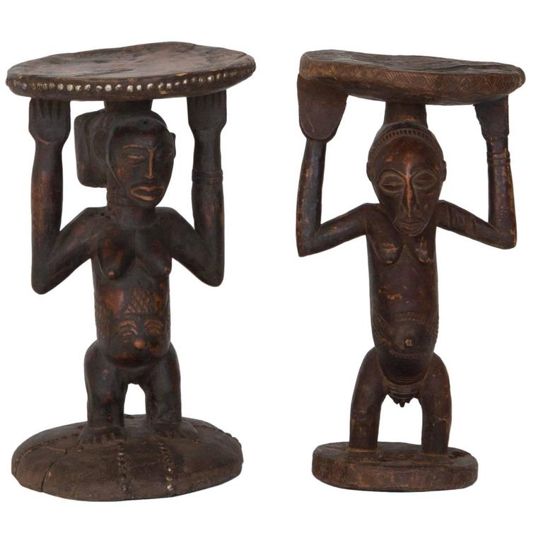 Set of Mismatched African Tribal Stools or Tables For Sale