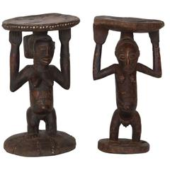 Set of Mismatched African Tribal Stools or Tables