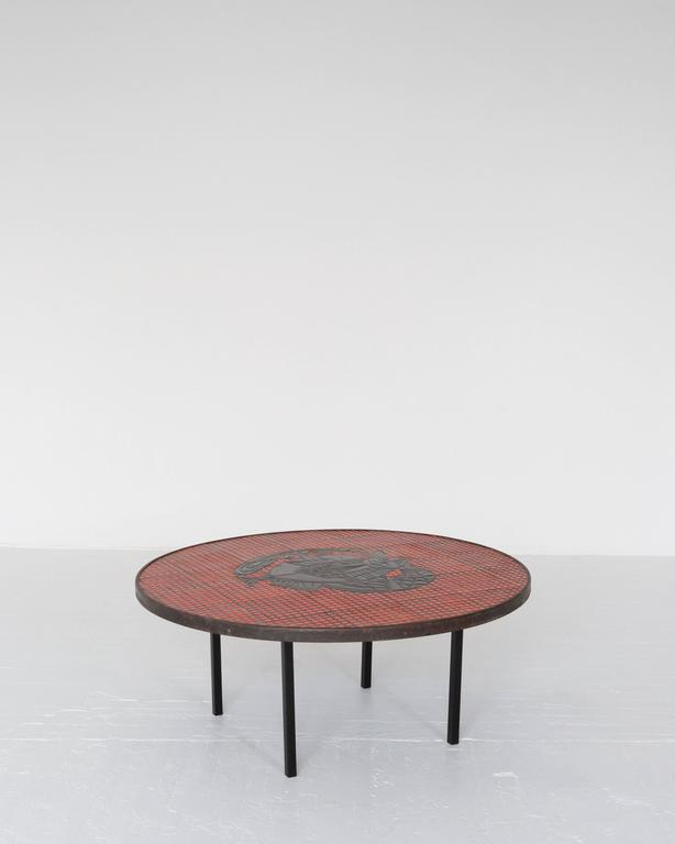 A very rare, if not one-of-a-kind, cocktail table of steel and ceramic tile by Roger Capron, circa 1950. Offered by ASH NYC.