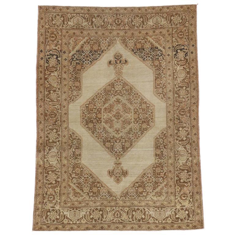 Haji Khalili Antique Persian Tabriz Rug in Muted Neutral Colors