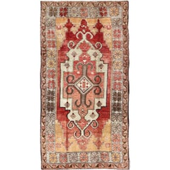 Vintage Turkish Oushak Rug with Geometric-Tribal Medallion in Red, Ivory & Gold