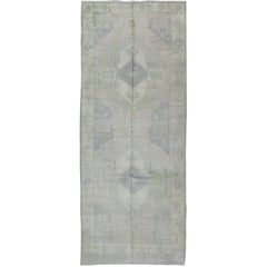 Muted Turkish Oushak Carpet with Two Diamond Medallions in Blue and Gray