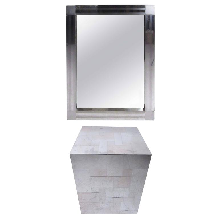 Paul Evans Patchwork Console Table and Wall Mirror