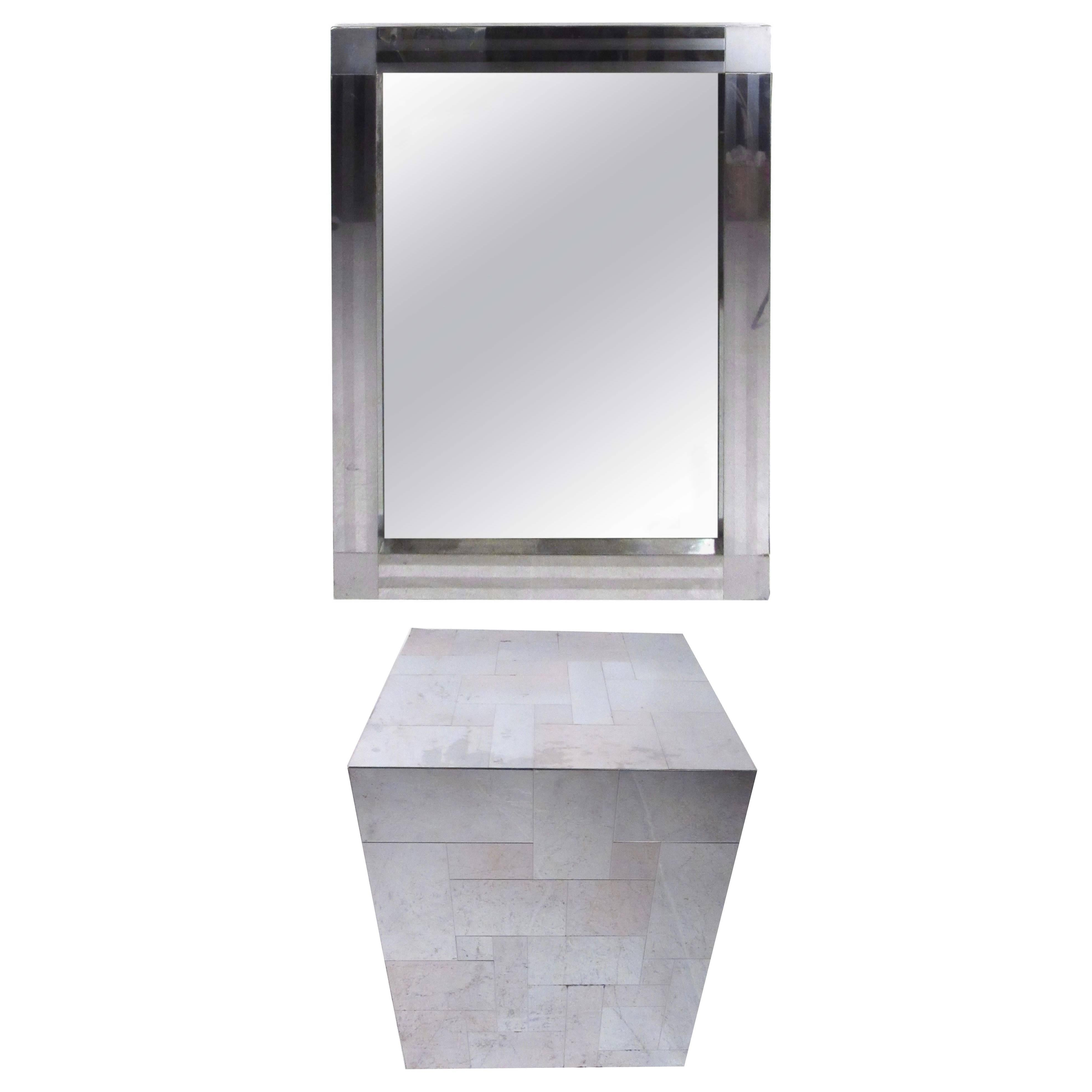 Paul Evans Patchwork Console Table and Wall Mirror, Signed