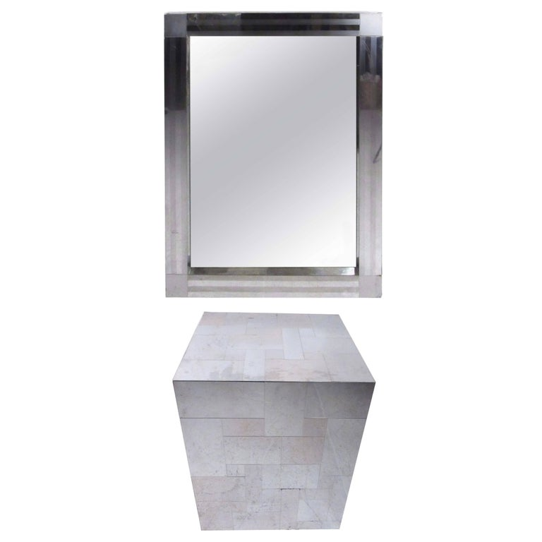 Paul Evans Patchwork Console Table and Wall Mirror, Signed For Sale