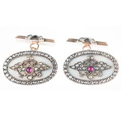 August Hollming Workmaster for Faberge Guilloche Enamel Gold Diamond Cuff Links