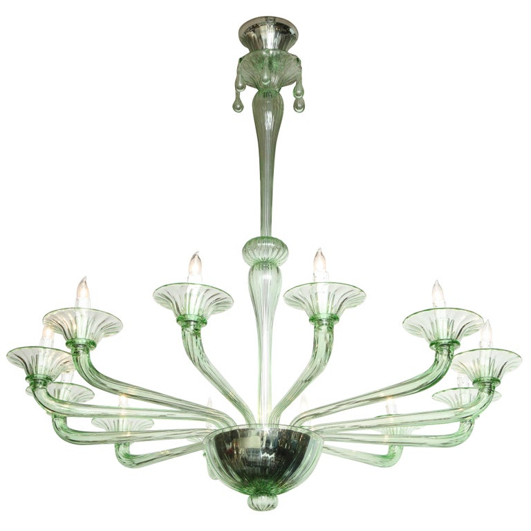 Rare Green Murano Glass Chandelier in the Manner of Venini, Italy, 2019 For Sale 5