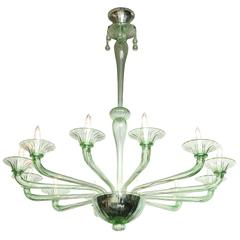 Rare Mid-Century Green Murano Glass Chandelier in the Manner of Venini