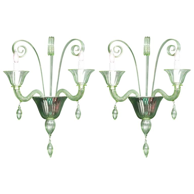 Pair of Mid-Century Green Murano Glass Sconces in the Manner of Venini For Sale