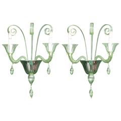Pair of Mid-Century Green Murano Glass Sconces in the Manner of Venini