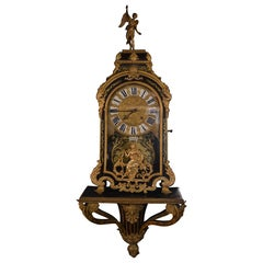 19th Century French Gilt Tortoise Shell Clock with Base