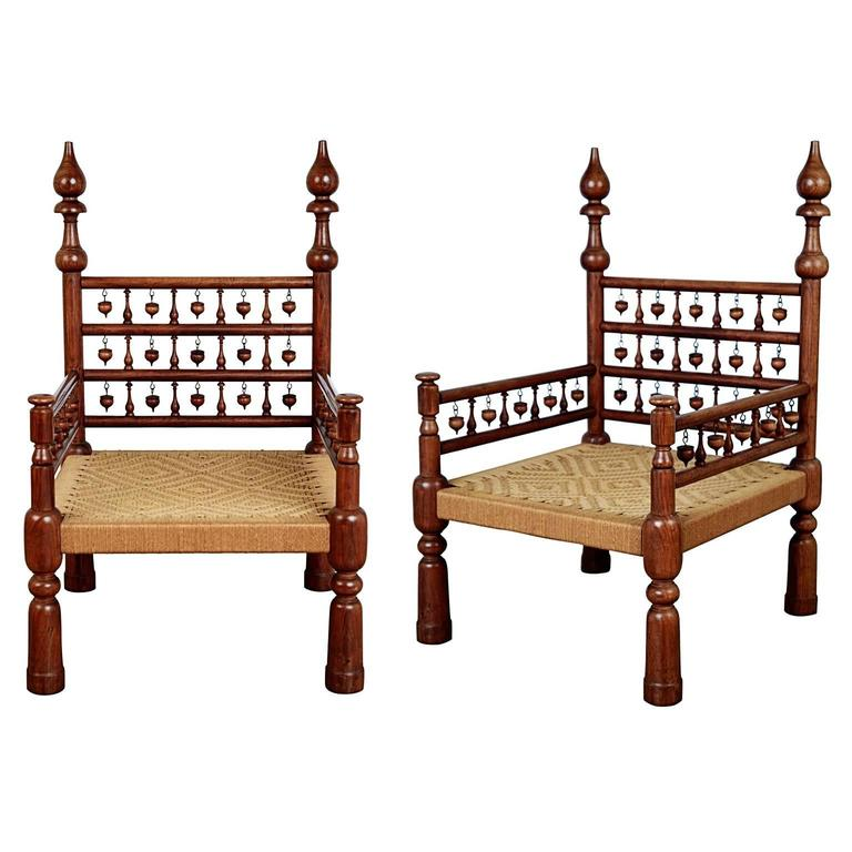 Pair Of Moroccan Teak Rush Seat Throne Armchairs, Circa 1960 For Sale