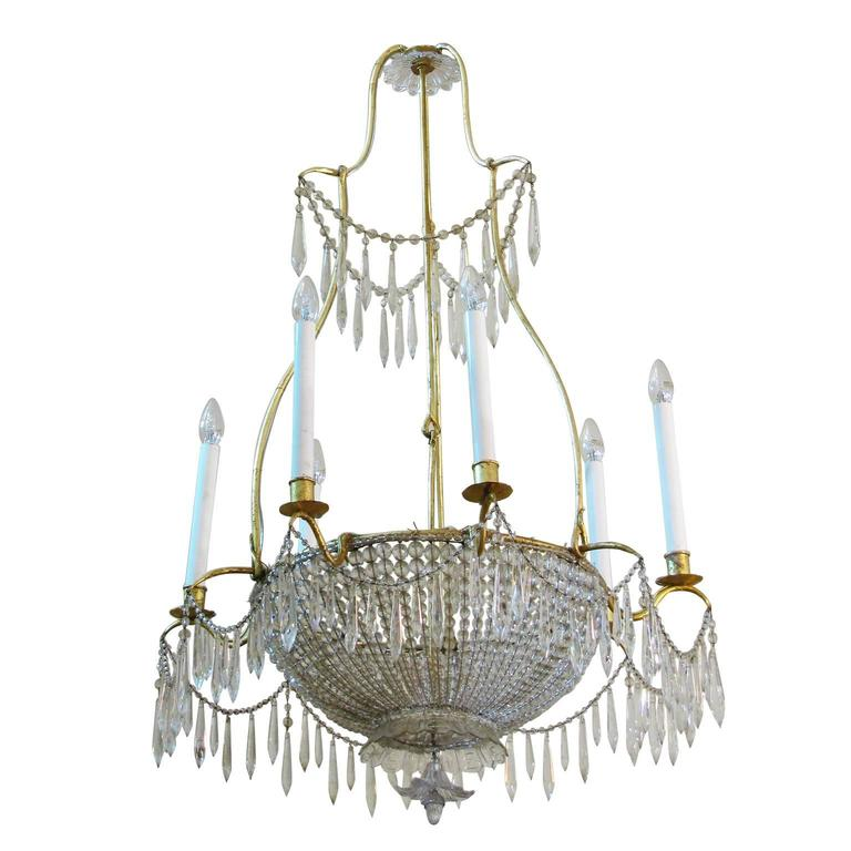 Late 18th Century Italian Montgolfiere Style Crystal Chandelier