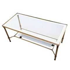 Mid-century Rectangular Brass Coffee Table with Mirrored Edges, Italy 1950s