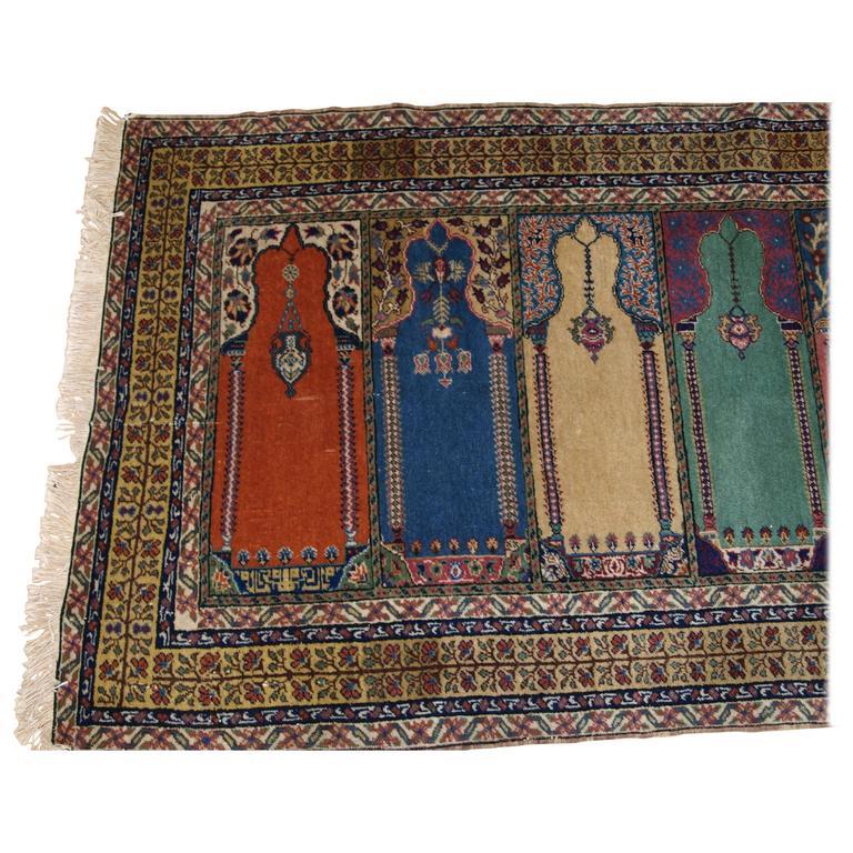 Old Turkish Kayseri Prayer Rug In Saf Design, Useful Small