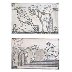 """Mythological Scenes,"" Important Pair of Art Deco Bronzes by Lovet Lorski"
