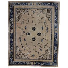 Geometric Antique Chinese Indigo Area Rug With Scattered