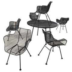 Dining Set of Six Sculptura Armchairs, Dining Table by Russell Woodard